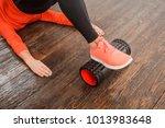 closeup foam roller. myofascial ... | Shutterstock . vector #1013983648