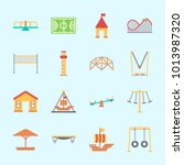 icons about amusement park with ... | Shutterstock .eps vector #1013987320