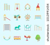 icons about amusement park with ... | Shutterstock .eps vector #1013991454