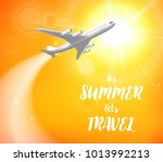 realistic poster white airplane ... | Shutterstock .eps vector #1013992213