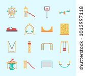 icons about amusement park with ... | Shutterstock .eps vector #1013997118