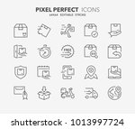 thin line icons set of shipping ... | Shutterstock .eps vector #1013997724