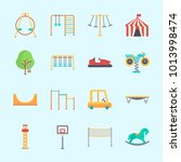 icons about amusement park with ... | Shutterstock .eps vector #1013998474