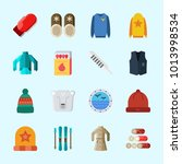 icons about winter with wood ... | Shutterstock .eps vector #1013998534
