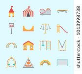 icons about amusement park with ... | Shutterstock .eps vector #1013998738