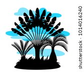 card with tropical palm trees.... | Shutterstock .eps vector #1014016240
