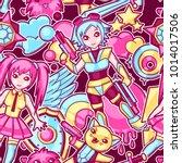 japanese anime cosplay seamless ... | Shutterstock .eps vector #1014017506