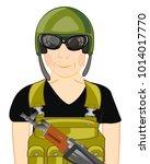 military in full equipment on...   Shutterstock .eps vector #1014017770