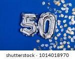silver foil number 50 balloon... | Shutterstock . vector #1014018970
