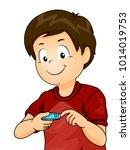 illustration of a kid boy using ... | Shutterstock .eps vector #1014019753