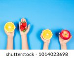 healthy food concept. many kids ...   Shutterstock . vector #1014023698
