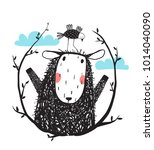 funny sheep and bird portrait... | Shutterstock . vector #1014040090