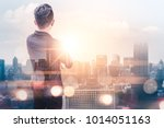 the double exposure image of... | Shutterstock . vector #1014051163