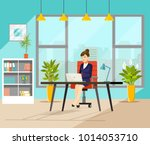 business woman working at her...   Shutterstock .eps vector #1014053710