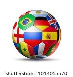 3d football soccerball with... | Shutterstock . vector #1014055570