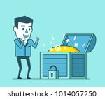 happy businessman stands near... | Shutterstock .eps vector #1014057250