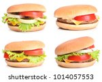 hamburgers on a white background | Shutterstock . vector #1014057553