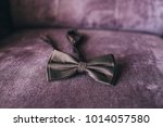 brown bow tie on pink sofa | Shutterstock . vector #1014057580