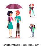 vector illustration of enamored ... | Shutterstock .eps vector #1014063124
