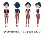 woman constructor  girl side... | Shutterstock .eps vector #1014064270