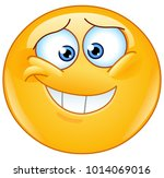 embarrassed emoticon with... | Shutterstock .eps vector #1014069016