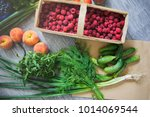 fresh vegetables and fruits... | Shutterstock . vector #1014069544
