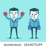 businessman with boxing gloves... | Shutterstock .eps vector #1014075199