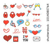 set of colored valentines icons ... | Shutterstock . vector #1014080764