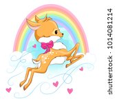 cute baby deer with hearts and... | Shutterstock .eps vector #1014081214