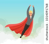young businessman flying with...   Shutterstock .eps vector #1014091768