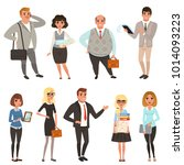 cartoon set of office managers... | Shutterstock .eps vector #1014093223