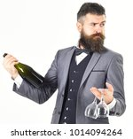 Small photo of Battler holding a wine bottle isolated on white background