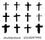 grunge hand drawn cross symbols ... | Shutterstock . vector #1014097990