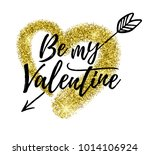 golden glitter heart with hand... | Shutterstock .eps vector #1014106924
