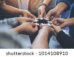 closeup image of many people... | Shutterstock . vector #1014108910