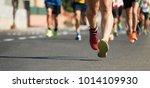 marathon running in the light... | Shutterstock . vector #1014109930