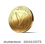 golden tron cryptocurrency... | Shutterstock . vector #1014115273