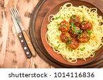 spaghetti pasta meatballs with... | Shutterstock . vector #1014116836
