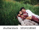 happy newlyweds have fun lying...   Shutterstock . vector #1014118060