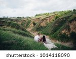 happy newlyweds have fun lying...   Shutterstock . vector #1014118090