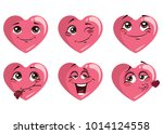 set of hearts with emotions.... | Shutterstock .eps vector #1014124558