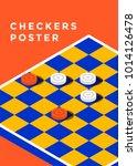 checkers game poster design.... | Shutterstock .eps vector #1014126478