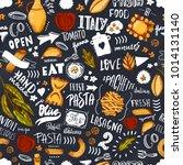 italian pasta seamless pattern... | Shutterstock .eps vector #1014131140