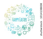 celebration easter signs. happy ... | Shutterstock .eps vector #1014138838