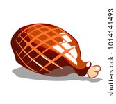 ham whole close up. smoked meat ...   Shutterstock .eps vector #1014141493