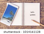 drawing on notebook with... | Shutterstock . vector #1014161128