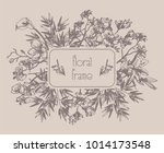 vector floral frame with... | Shutterstock .eps vector #1014173548