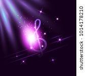 radiant neon music treble clef... | Shutterstock .eps vector #1014178210