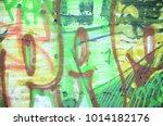 close up fragment of a graffiti ...   Shutterstock . vector #1014182176