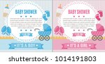 set of baby shower invitation... | Shutterstock .eps vector #1014191803